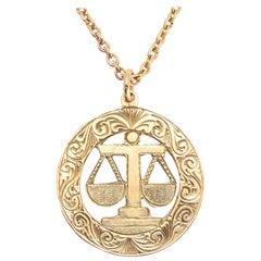 Vintage Gold Libra Zodiac Pendant