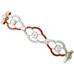 1910s Ruby 4.31 Carat Diamond Yellow Gold Bracelet