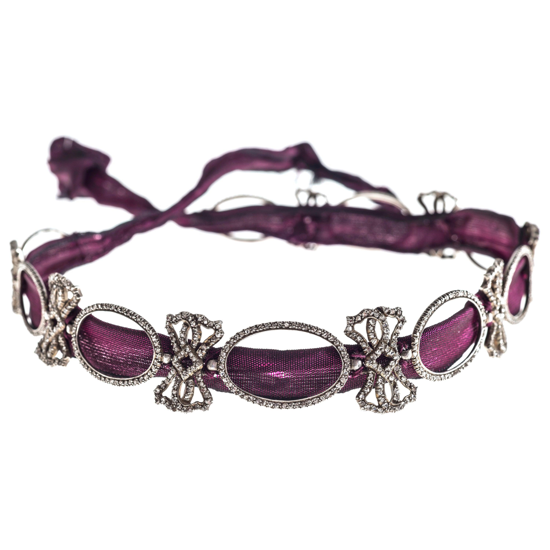 Belle Époque Antique Diamond Platinum Choker Collar Necklace