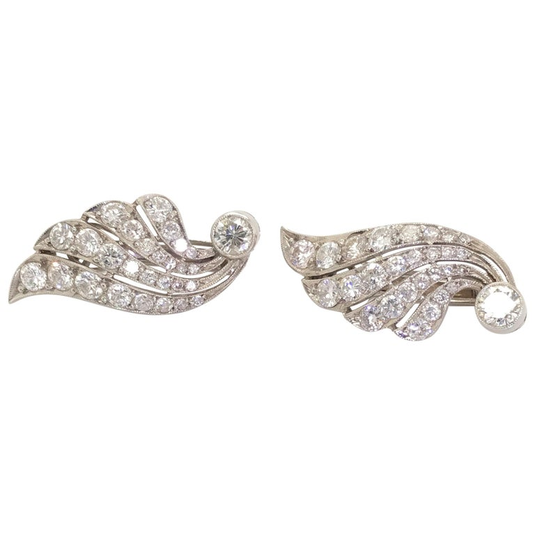 3.70 Carat Diamond & Platinum Wing Ear Clips For Sale