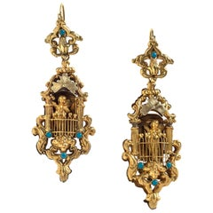 Antique Cupid Arrow Bow Turquoise Gold Dangle Earrings France