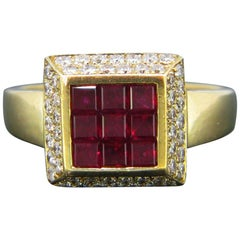 Vintage Ruby Calibre Diamonds Square Yellow Gold Cocktail Ring