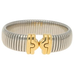 Vintage Parentesi Bangle in Yellow Gold and Stainless Steel