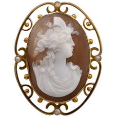 Antique Victorian Pearl Cameo Brooch 9 Karat Gold, circa 1900