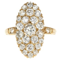 Victorian 18 Karat Yellow Gold 2.33 Carat Diamond Navette Ring