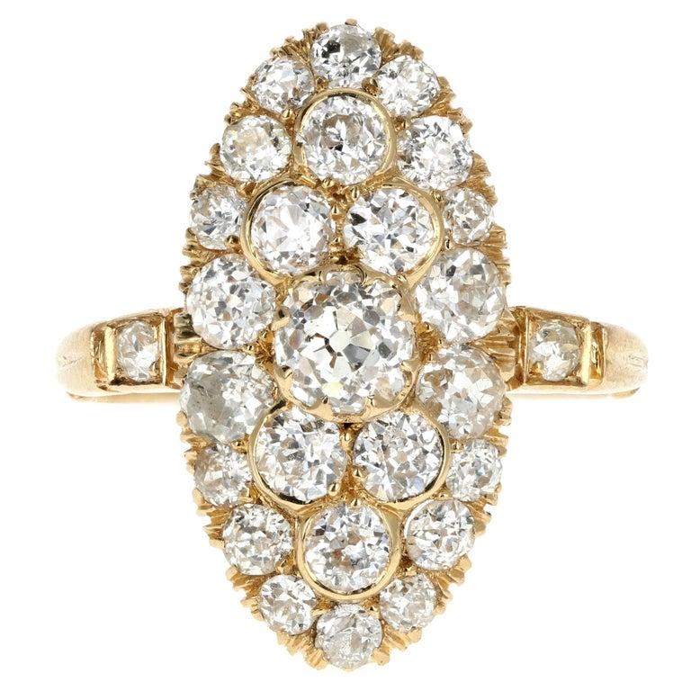 Victorian 18 Karat Yellow Gold 2.33 Carat Diamond Navette Ring For Sale