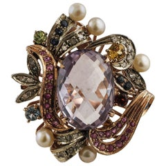 Amethyst, Rubies, Sapphires, Pearls, 9 Karat Rose Gold and Silver Cocktail Ring