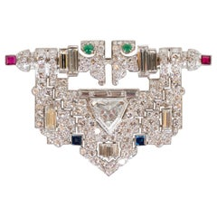 Art Deco White Diamond, Emerald, Ruby, Sapphire and Platinum Clip Brooch