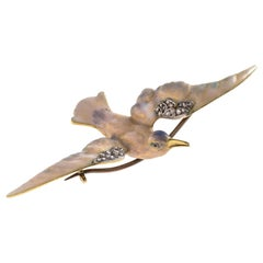 Art Nouveau Seagull Diamond Enamel Gold Brooch France
