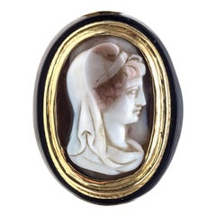 Antique Goddess Cameo Agate Gold Gentleman Horn Ring