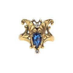 Art Nouveau Ginkgo Leaf Lotus Flower Sapphire Diamond Ring