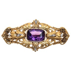 Art Nouveau Amethyst Diamond Platinum Gold Roses Brooch