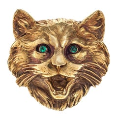 Antique Cat Head Emerald Eyes Gold Brooch France 1880