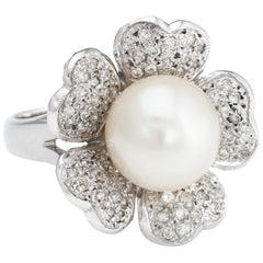 Vintage Cultured South Sea Pearl Diamond Ring 14 Karat White Gold Flower Jewelry