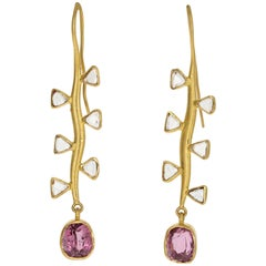 22 Karat Yellow Gold Pink Spinel and Trillion Rose Cut Diamond Earrings