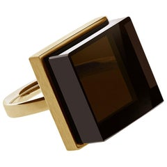 18 Karat Rose Gold Art Deco Ring with Smoky Quartz by the Artist