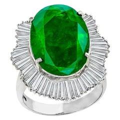 GIA 11.89 Carat Oval Cut Zambian Emerald Diamond Platinum Ballerina Ring