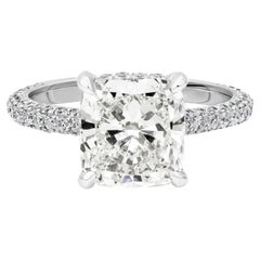 GIA Certified Cushion Cut Diamond Micro-Pave Engagement Ring