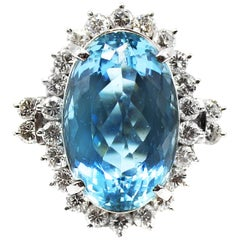 Santa Maria Color Aquamarine Diamond Platinum Ring