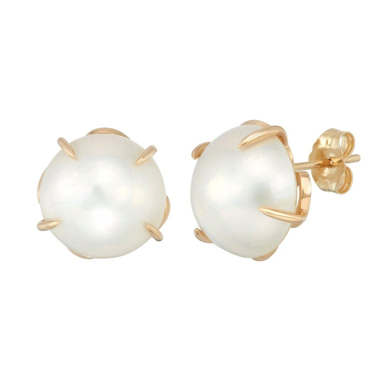 14 Karat Yellow Gold Cultured Mabe Pearl Stud Earrings For Sale