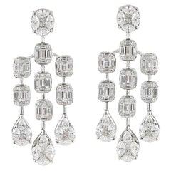 3.45 Carat Diamond Chandelier Earrings '18 Karat White Gold'