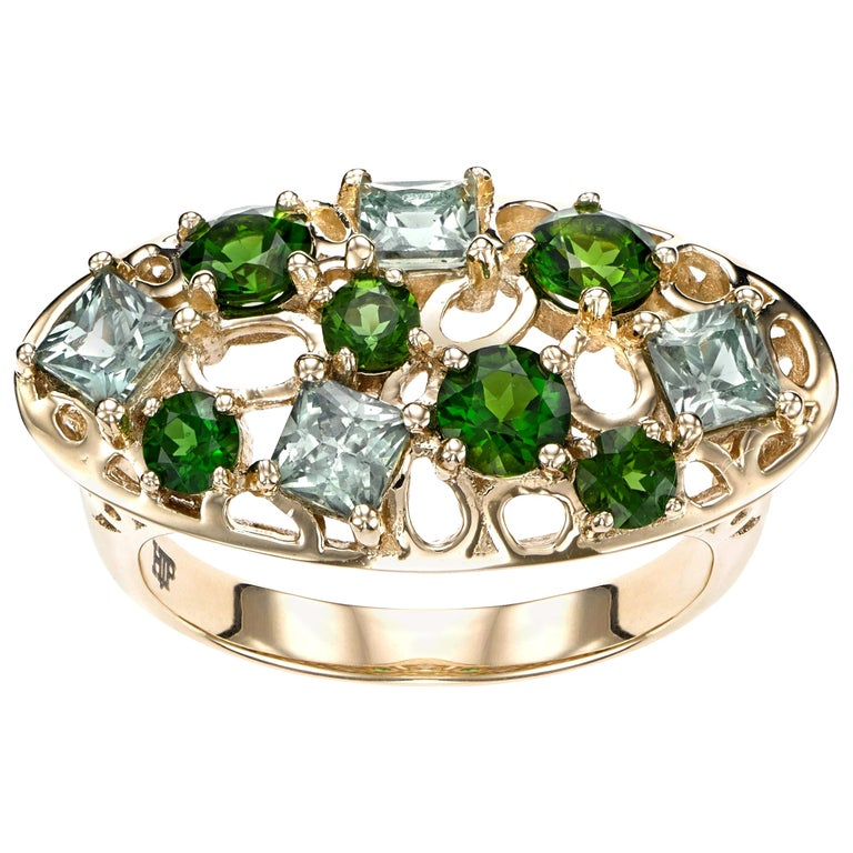 14 Karat Yellow Gold with 1.37 Carat Green Sapphire Cocktail Ring For Sale
