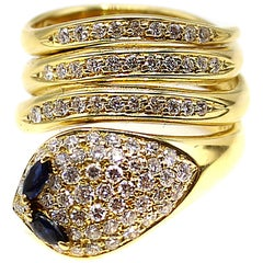 18 Karat Yellow Gold Diamond Sapphire Snake Ring