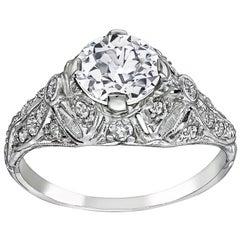 Art Deco GIA 1.12 Carat Diamond Platinum Engagement Ring
