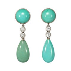 Art Deco Turquoise and Diamond Drop Earrings