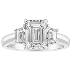 Roman Malakov, GIA Certified Emerald Cut Diamond Three-Stone Engagement Ring