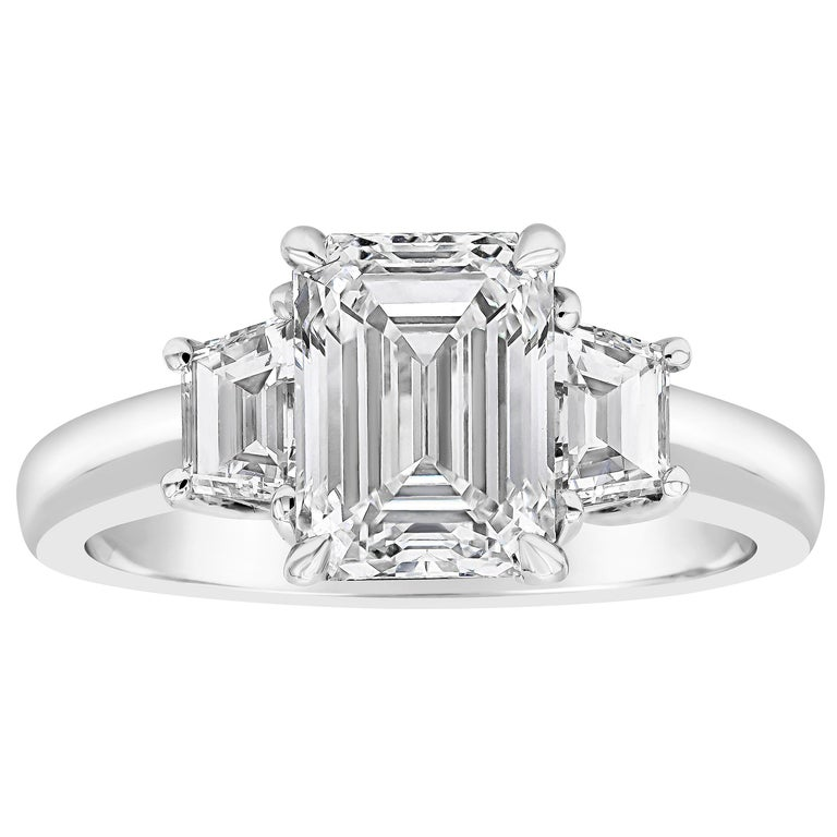 Roman Malakov, GIA Certified Emerald Cut Diamond Three-Stone Engagement Ring For Sale