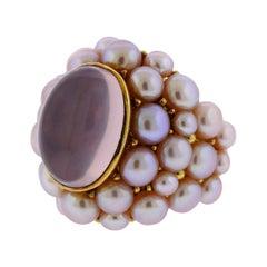 Mimi Rose Quartz Pearl Gold Cocktail Ring