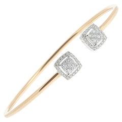0.61 Carat GVS Round Diamond Bangle Bracelet 18 Karat Yellow Gold Cuff Bracelet