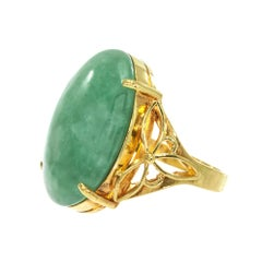 GIA Certified Natural Oval Jadeite Jade Yellow Gold Cocktail Ring
