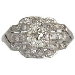 GIA Certified 0.77 Carat Diamond Platinum Engagement Ring