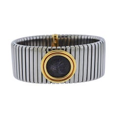 Bulgari Monete Gold Steel Ancient Coin Tubogas Bracelet
