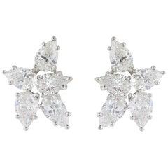 8.55 Carat Pear Shape Diamond Cluster Earrings Platinum