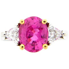 2.56 Carat Oval Hot Pink Sapphire and Diamond Platinum Cocktail Ring