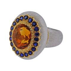 Buccellati Citrine Sapphire Gold Ring