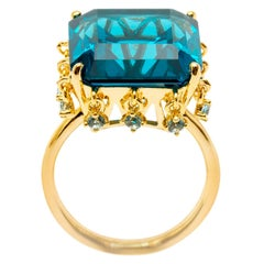 Ammanii Blue Topaz Crown Vermeil Gold Ring with Charms