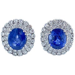 David Webb Certified No Heat 26.58 Carat Ceylon Sapphire and Diamond Earrings