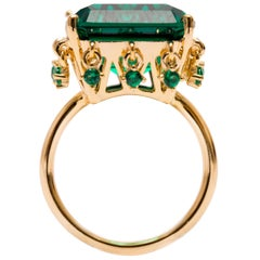 The Crown Emerald Green Vermeil Gold Cocktail Ring with Charms