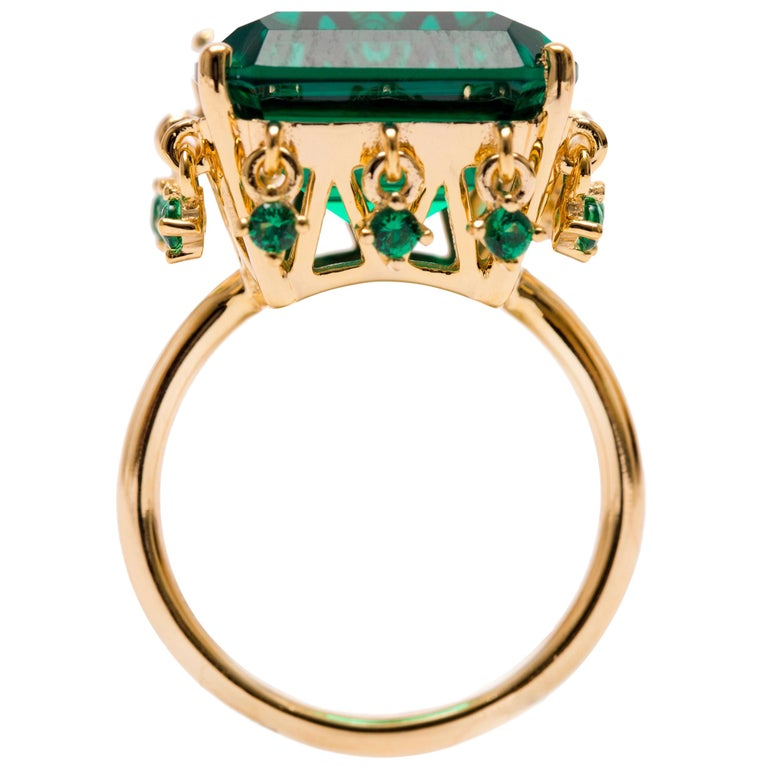 386e5ad11 Emerald Green Crown Vermeil Gold Ring with Charms For Sale at 1stdibs