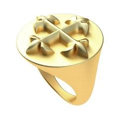 14 Karat Yellow Gold Fleur di  lis  Signet Ring