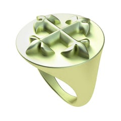 14 Karat Green Gold West 46 Fleur de lis  Cross Signet Ring