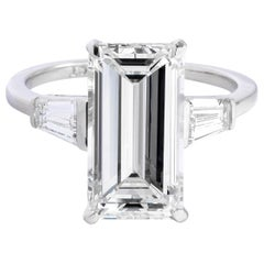 4.21 Carat GIA K VS1 Emerald Cut Diamond Ring 'Platinum'