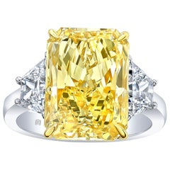7.95 Carat Radiant Cut GIA Fancy Yellow Diamond Three-Stone Engagement Ring