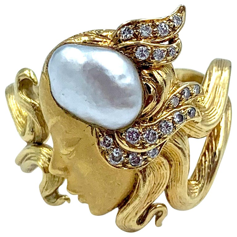 Carrera y Carrera Pearl and Diamond Maiden or Face of Woman Ring For Sale