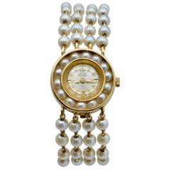 Natural Pearl Lucien Piccard Watch in 14 Karat Gold