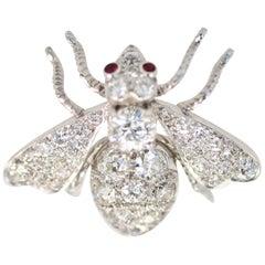 Antique Platinum Diamond Bee Brooch